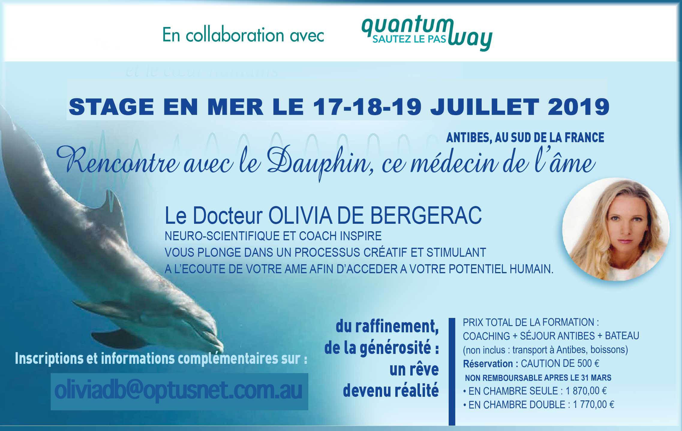 Stage nage avec les dauphins olivia de Bergerac